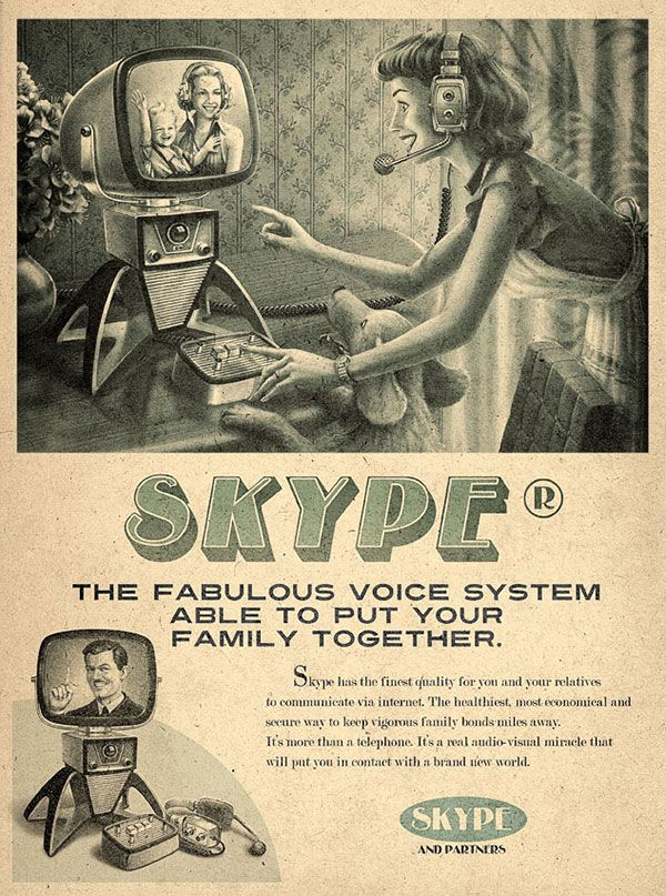 These fake vintage ads for Facebook, Skype, Twitter, Youtube