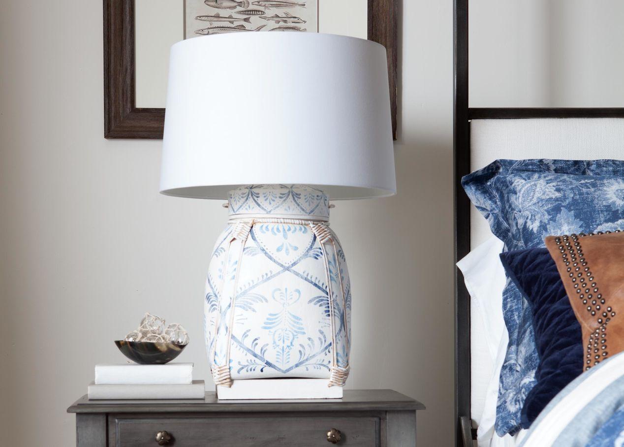 Ethan Allen 090557 Jasmine Blue Bamboo Table Lamp