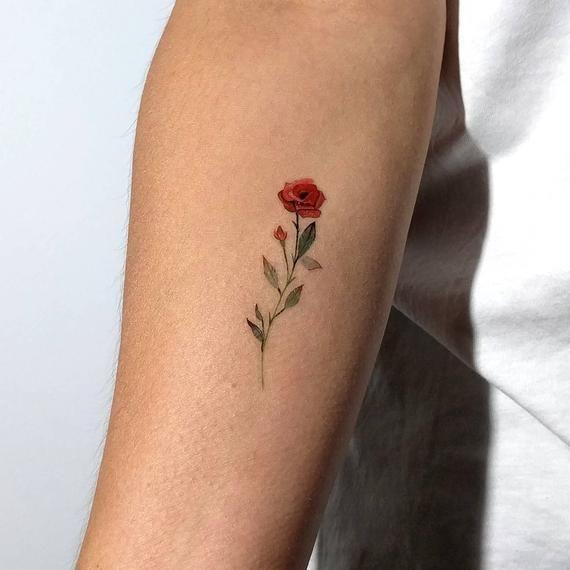 Rote Rose temporäres Tattoo von Lena Fedchenko (3er Set) - WTIIPRN