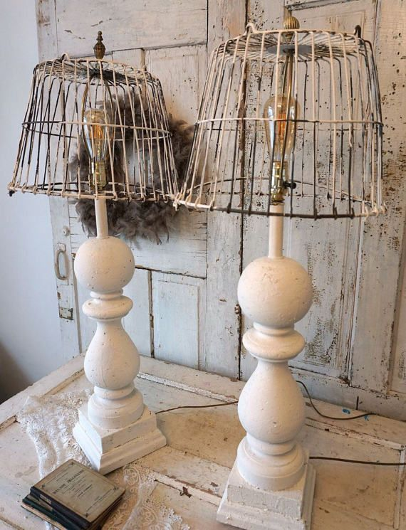 Baluster style wood table lamps with rusted wire basket shades baluster style wood table lamps with rusted wire basket shades distressed shabby farmhouse chic white painted lighting anita spero design pinterest keyboard keysfo Image collections