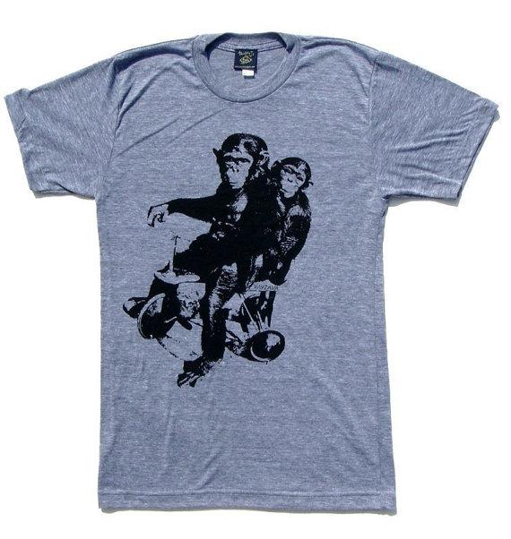 Graphic Tees Mens Tshirt Monkey Tshirt Cool Tshirt by Necklush