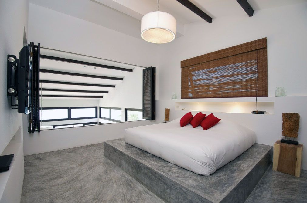 Concrete Design Ideas concrete tub soleras tiles Modern Bedroom Concrete Floor With Red Pillow Ideas Interior Design Ideas Concrete Design Ideas