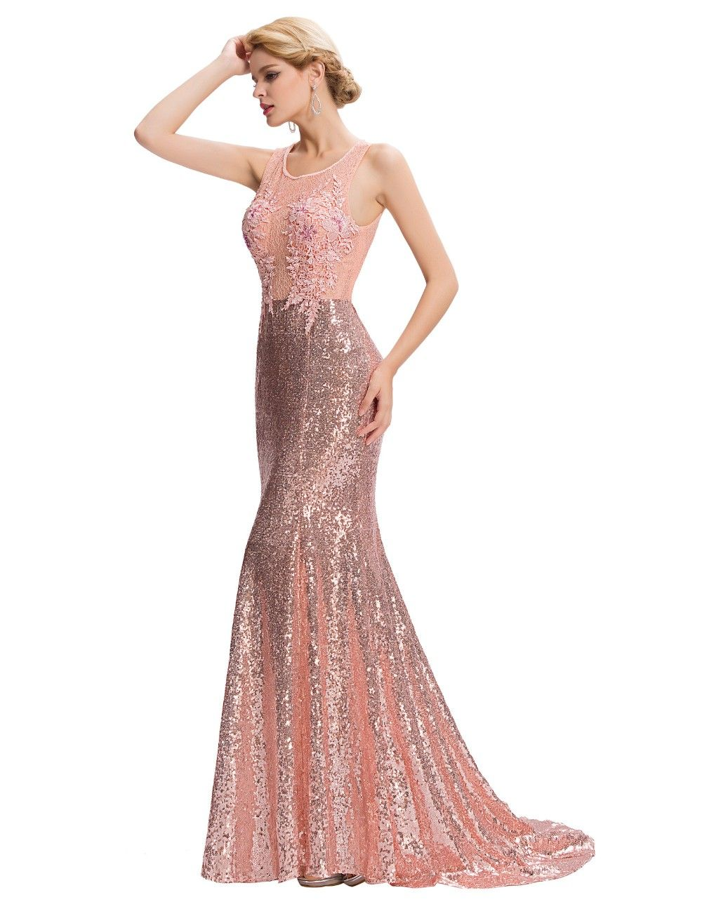 Elegant Pink Sequin Floor Length Backless Lace Mermaid Evening Dress