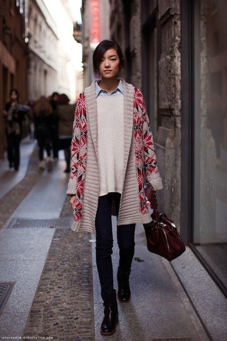 Cómo usar un suéter largo en otoño | Long cardigan, Street styles ...
