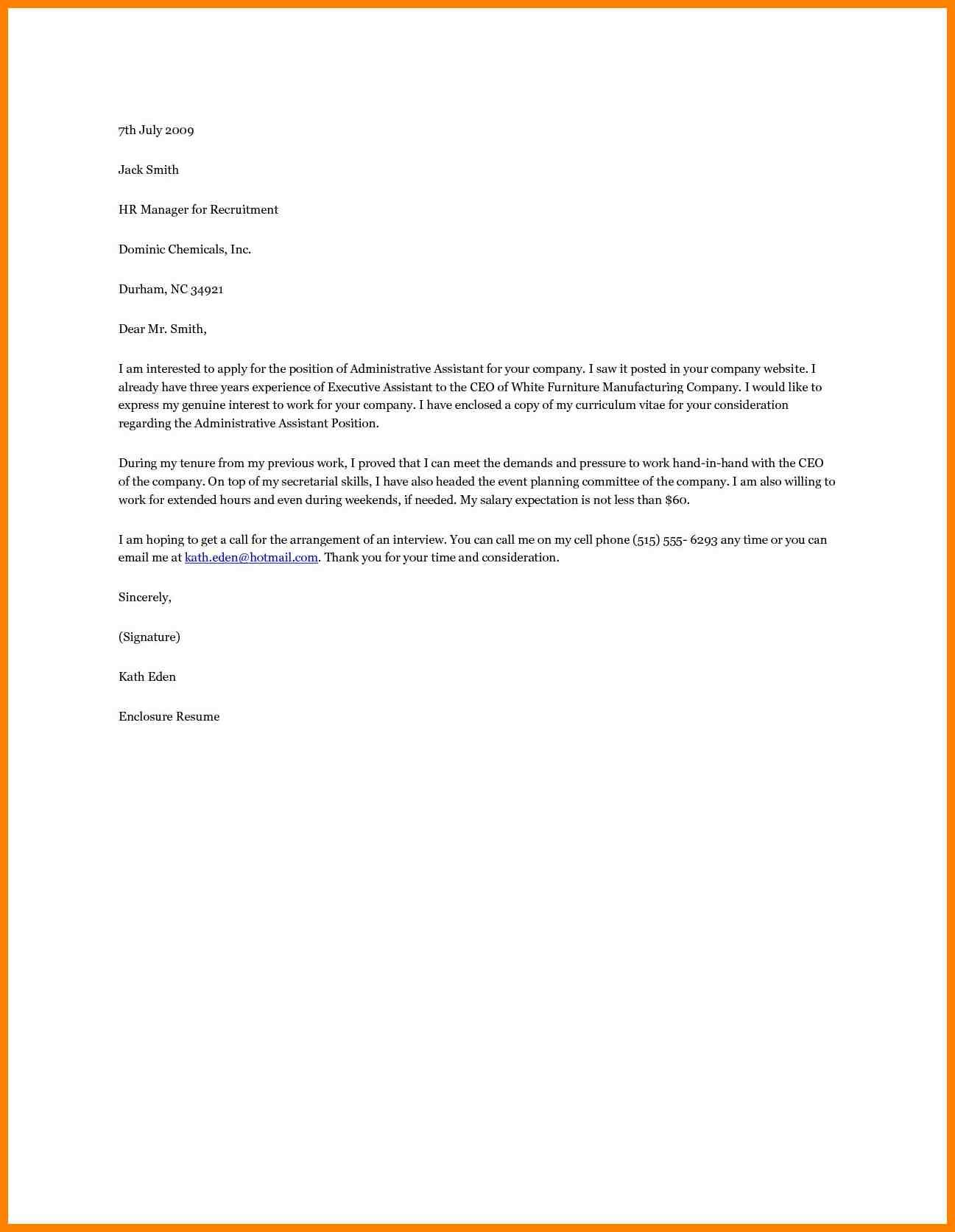 25 Executive Assistant Cover Letter 8 Administrative Letters Adress