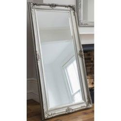 Large Baroque Designed Leaner Wall Mirror in Silver Leaf