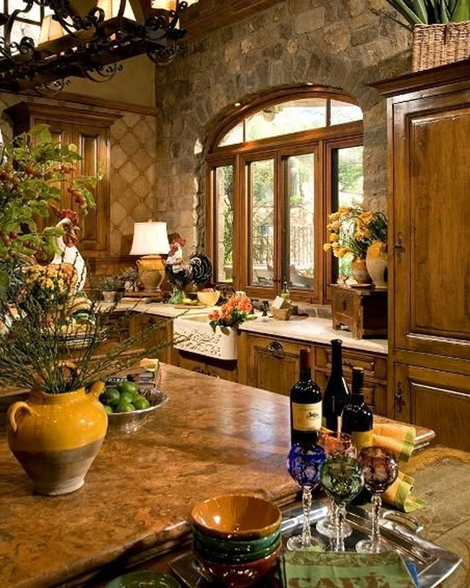 Charming Country Kitchen Decorations With Italian Style: Rustic Italian Tuscan Style For Interior Decorations 47 In
