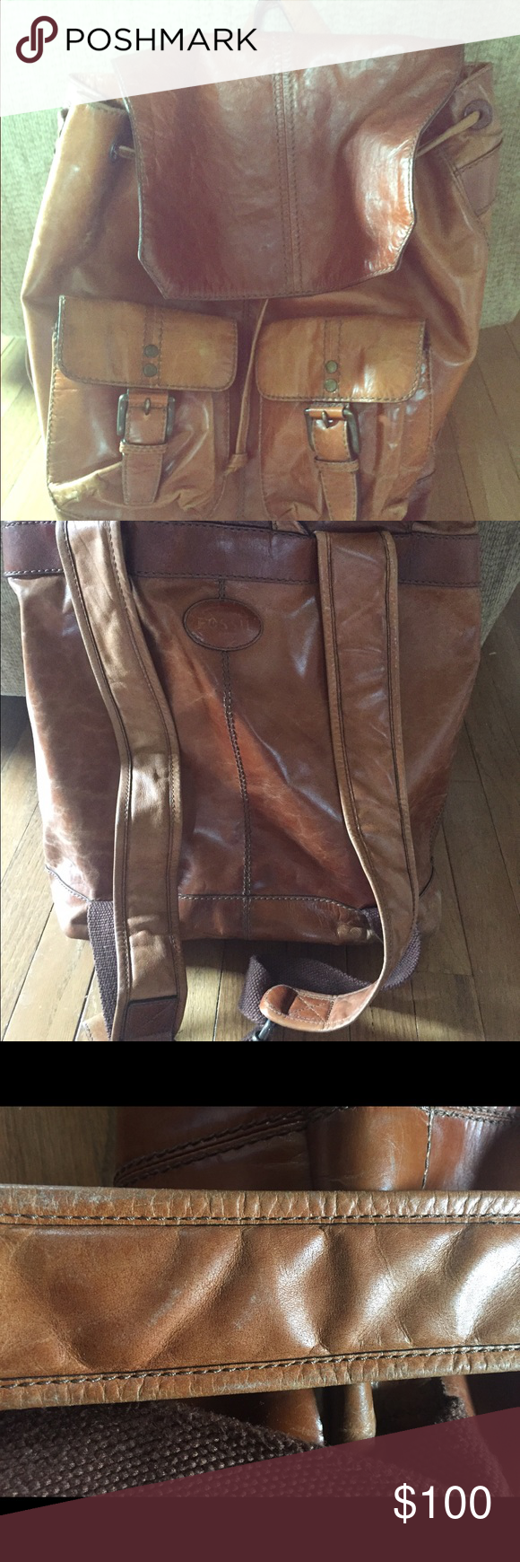 Fossil large brown leather backpack Large Fossil brand leather backpack. Good shape, with some slight wear and tear from use. Two large inner pockets, cell phone/accessory pocket, zipper pocket all inside. Outside has two pockets as well. Fossil Bags Backpacks
