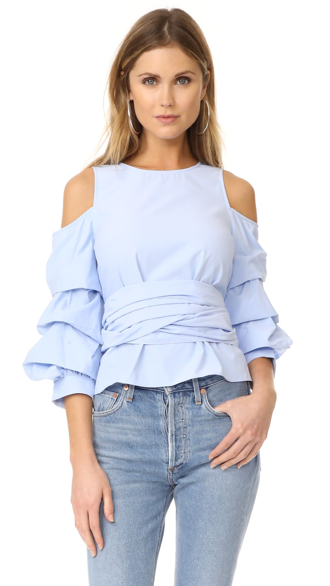 fd0198a272025a Cold Shoulder Ruffle Sleeve Top