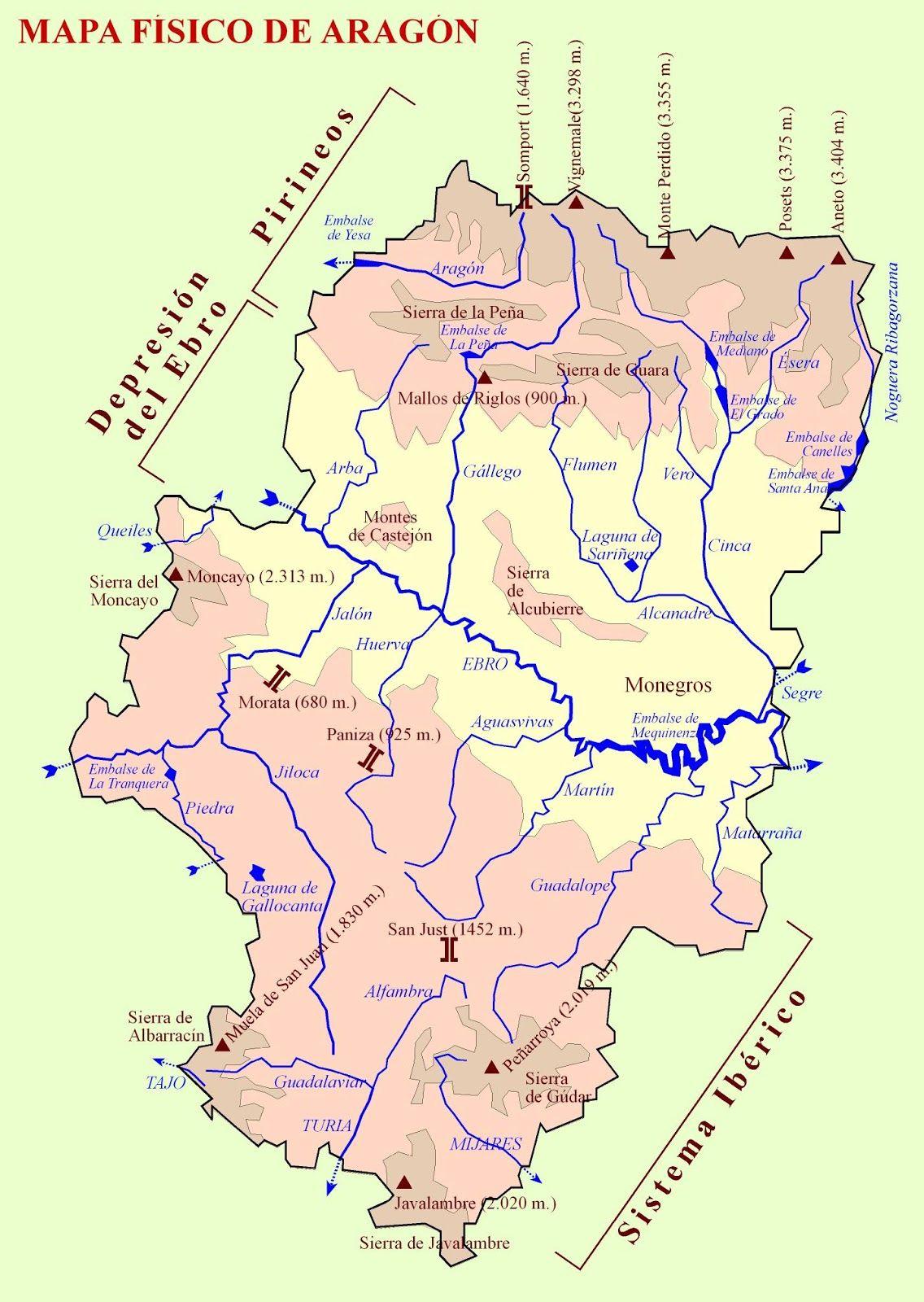 Mapa Fisico Aragon Con Imagenes Mapa Fisico Mapas Aragon