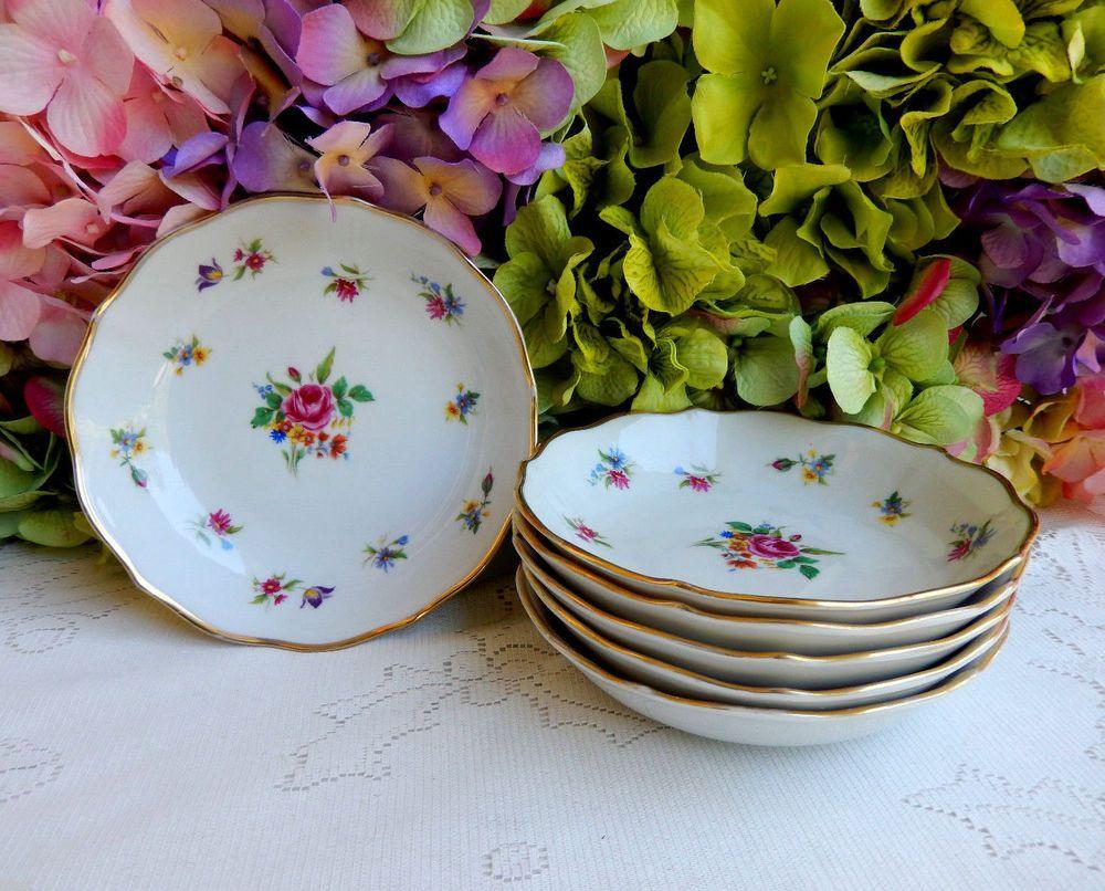 6 Vintage Winterling German Porcelain Dessert Bowls ~ Meissen Gardens ~ Gold #Winterling & 6 Vintage Winterling German Porcelain Dessert Bowls ~ Meissen ...
