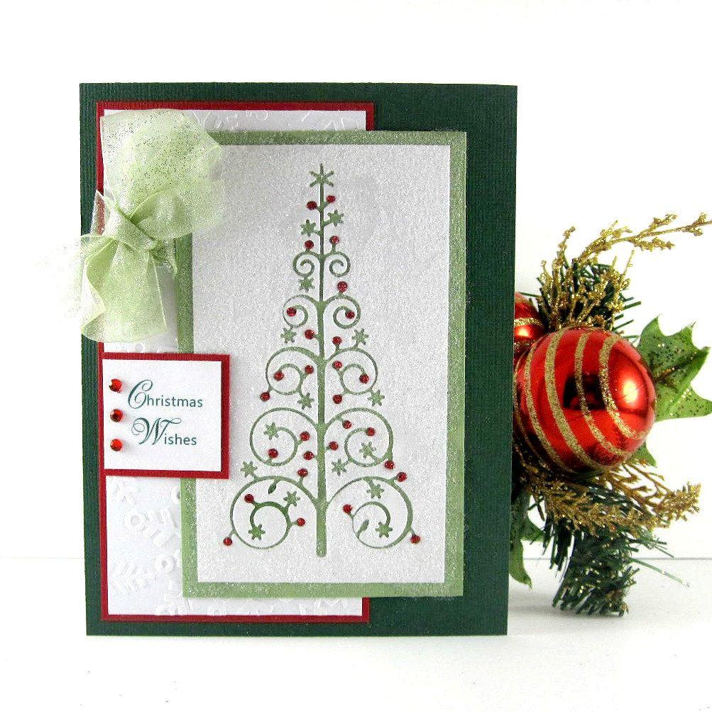 Traditional Christmas card, Elegant Christmas tree, handmade, Winter ...