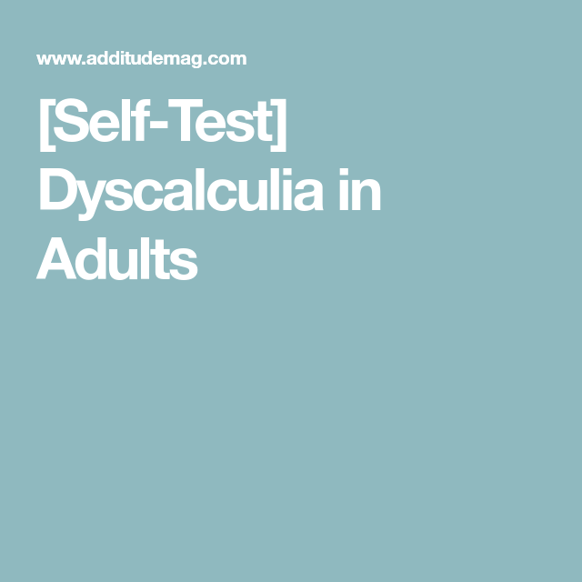 Dyscalculia in adults excellent idea