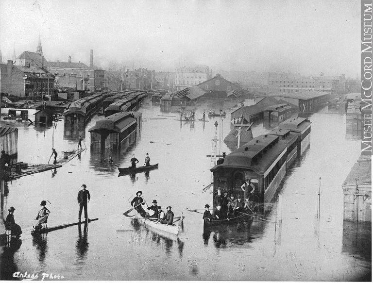 Bonaventure train depot - what it looked like in 1886 after a flood.