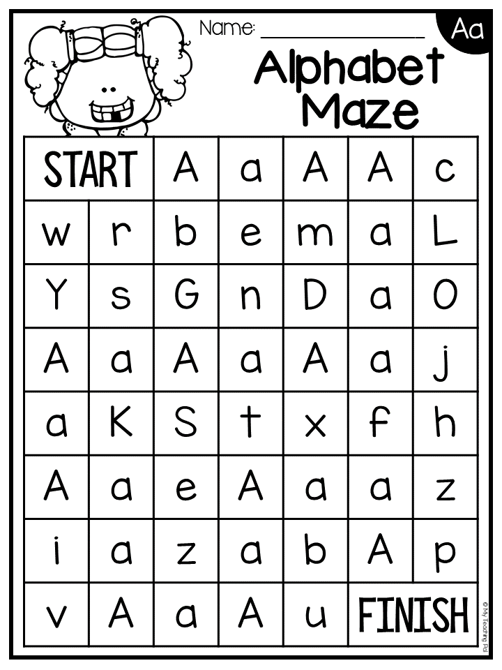 Alphabet Maze Worksheets - Letter Recognition | TpT Language Arts ...