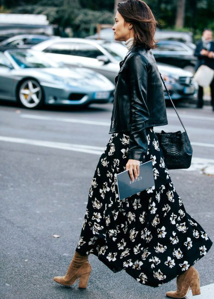 Perfecto + longue robe fleurie \u003d le bon mix