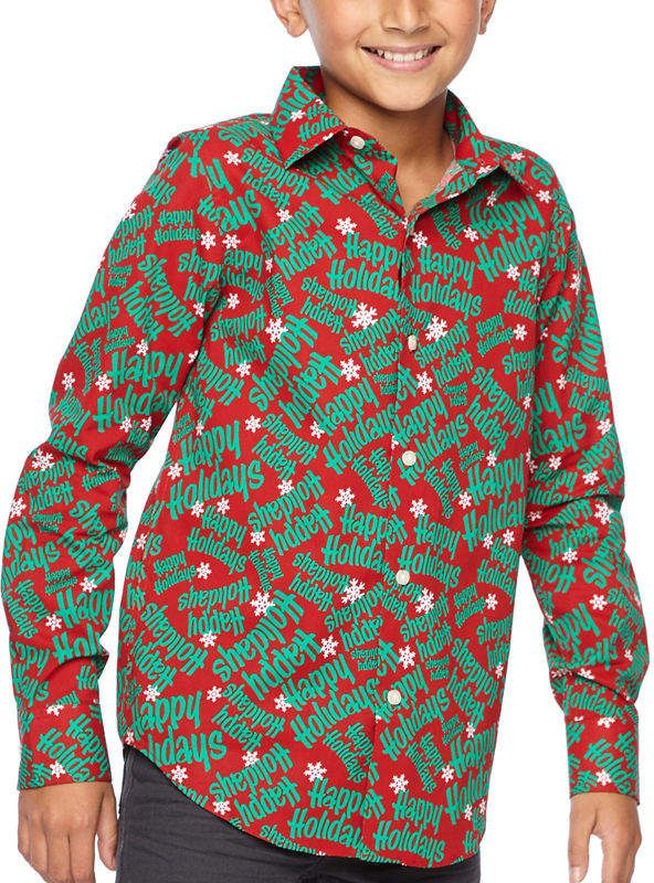 7e1785fd0f9d Co North Pole Trading Boys & Husky Jingle Long Sleeve Holiday Dress Shirt