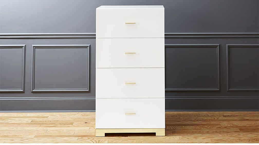 Odessa Tall White Gloss Chest Of Drawers Cb2 Small Bedroom Office Drawers White Gloss