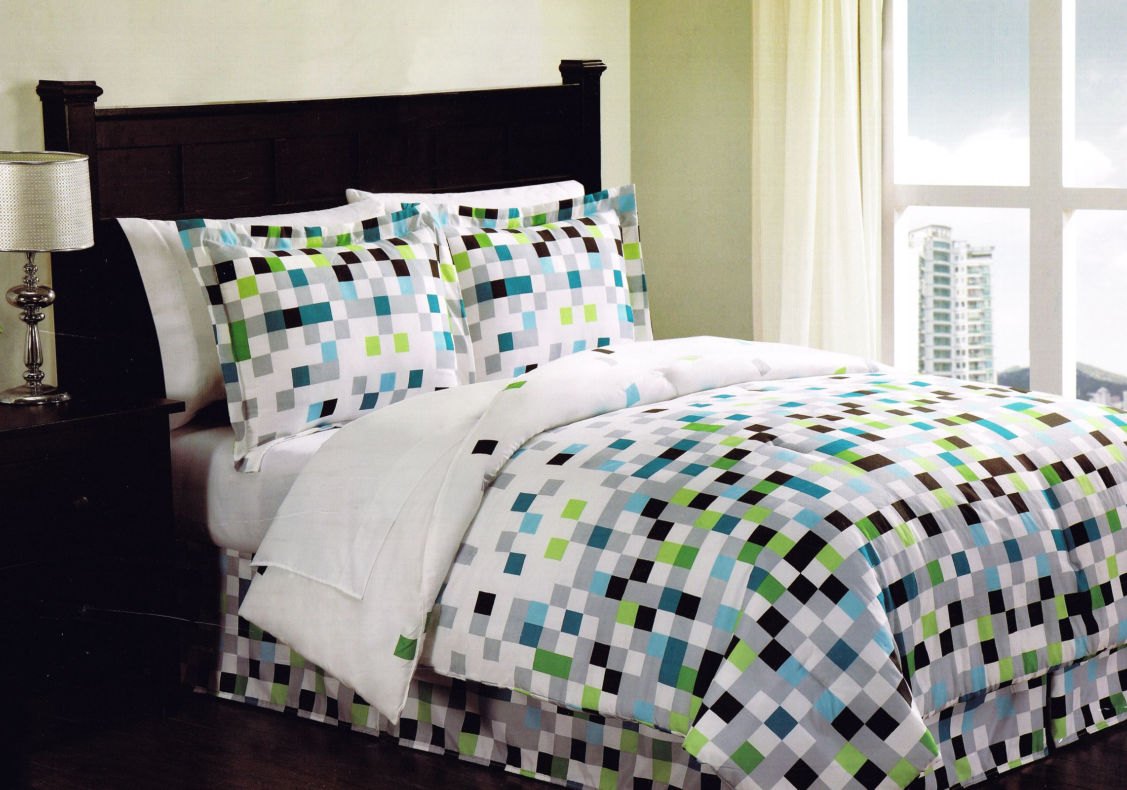 Minecraft Pixels Comforter Set Bedding Bed In A Bag Geometric White Green Black