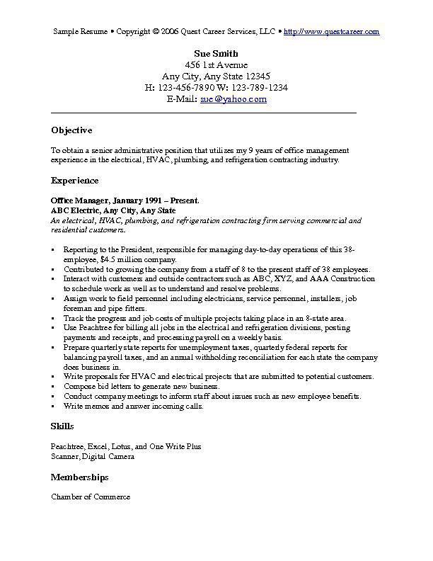 resume-objective-examples-1 Resume Cv Design Pinterest - sample hvac resume