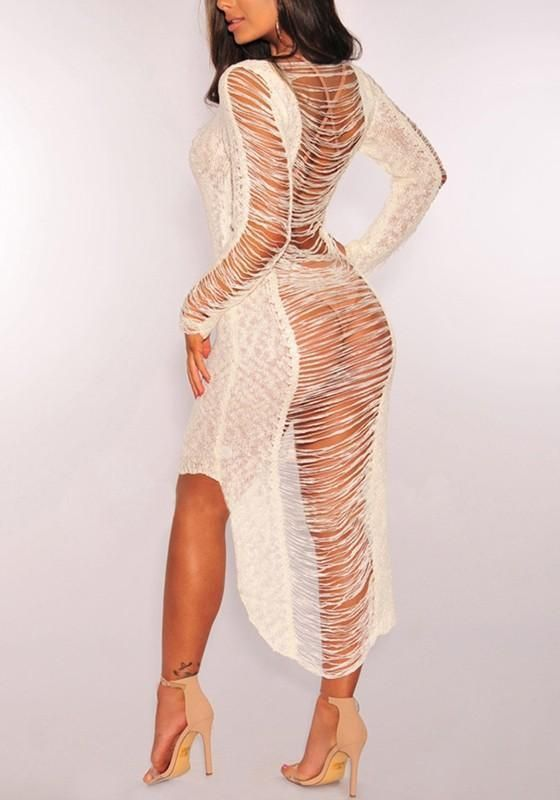 fb8b79cb32 White Cut Out Irregular High-low Ripped Destroyed Bohemian Cover-Up Bikini  Smock Midi Dress