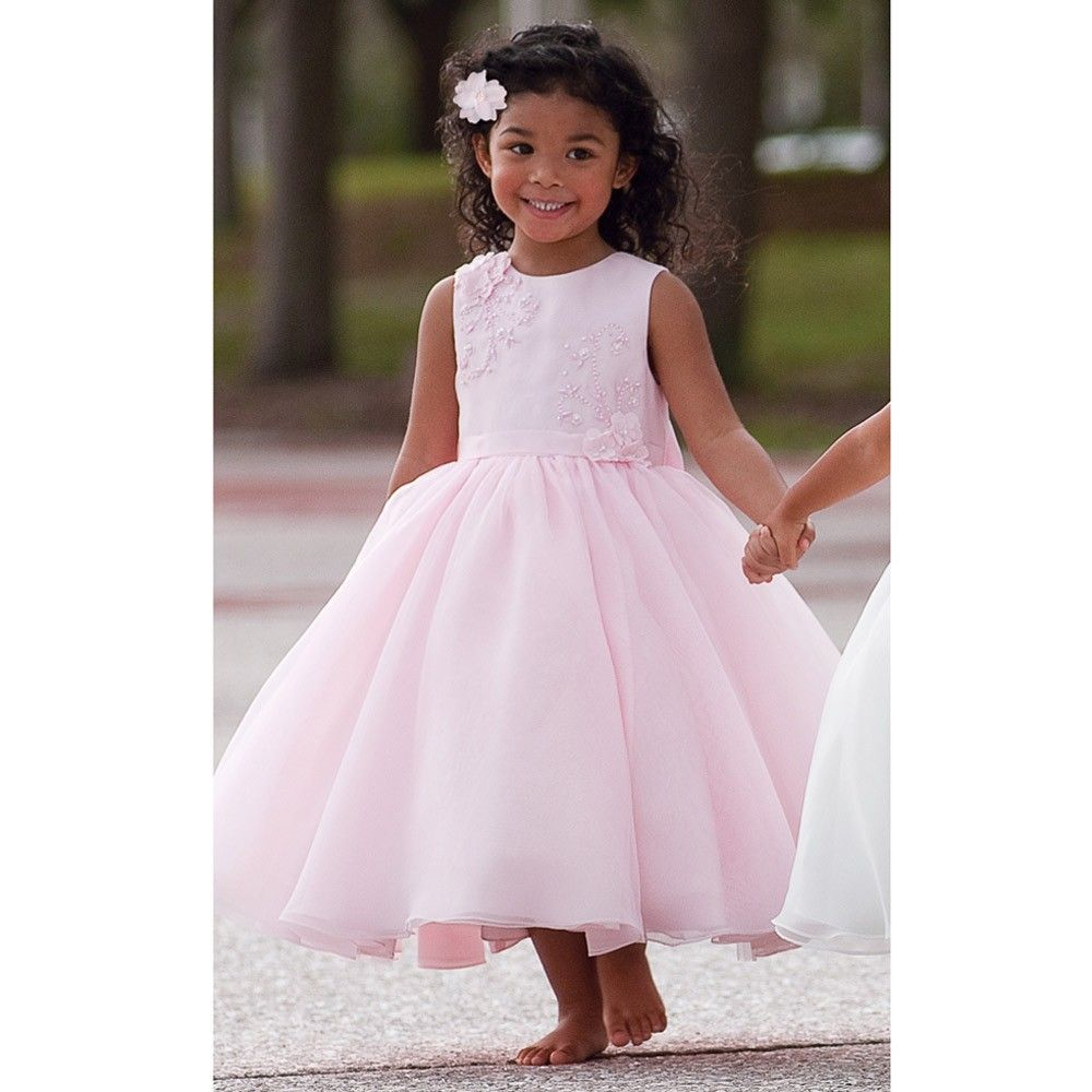 Sarah louise pink tulle beaded occasion dress childrensalon