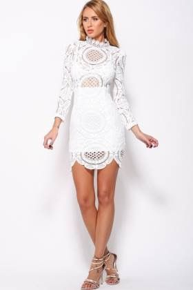 4e11977105f Lustre by LEVA  White lace detail. Items similar to New womens ladies sexy  low back long sleeve Crochet Lace Dress ...