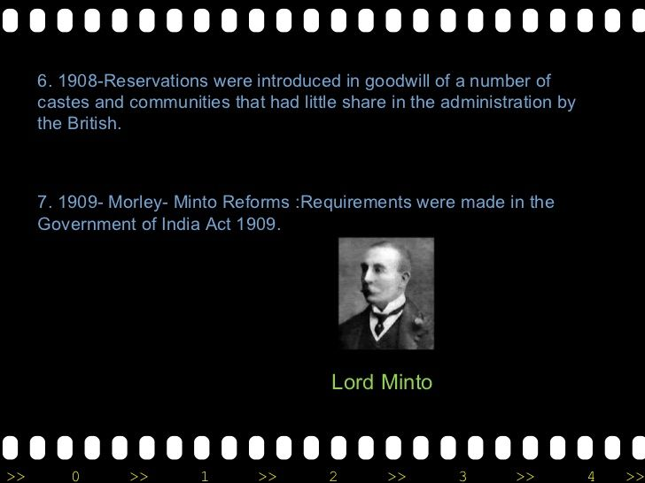 6. 1908-Reservations were introduced in goodwill of a number of castes and communities that had little share in the admini...