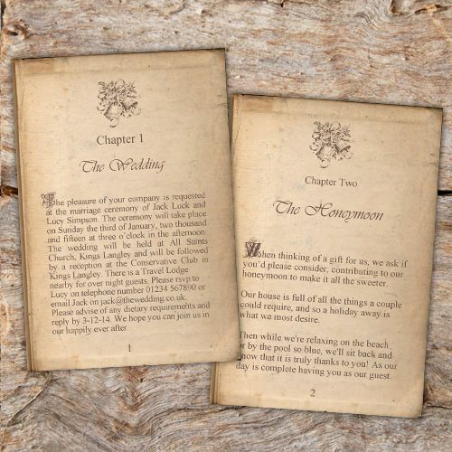 Vintage Story Book Page Wedding Invitations Literary X10