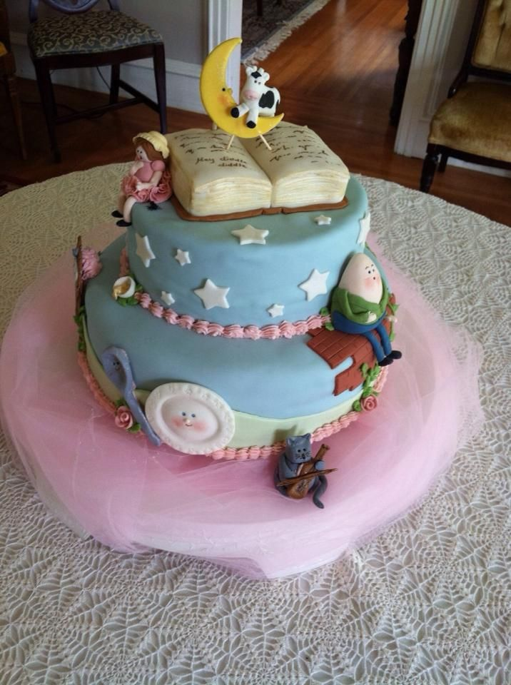 Classic Nursery Rhymes Hey Diddle Diddle Little Miss Muffet Humpty Dumpty Hickory Dickory Dock Three Littl Book Cakes Baby Shower Cakes Nursery Rhyme Party