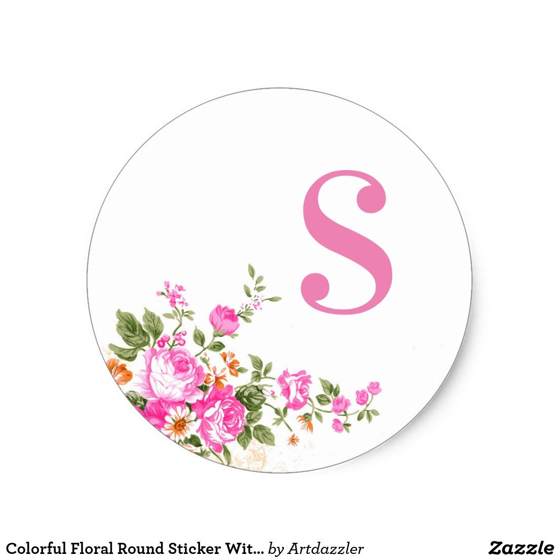 Colorful floral round sticker with s alphabet