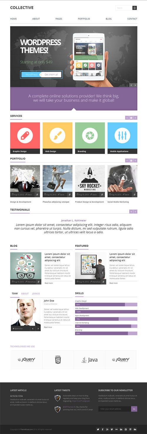 'Collective' responsive WordPress theme voor zelfstandigen of portfolio sites. $49. Demo & download: http://themefuse.com/wp-themes-shop/professional-wordpress-theme/