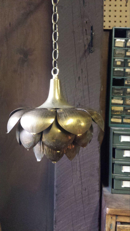 shabby chic pendant lighting. Vintage Artichoke Lamp, Brass Lotus Shabby Chic Pendant Light By Chandeluse On Etsy Lighting