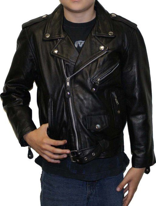 Amazon.com: Kids Classic Biker Jacket , soft lamb Leather with zip out lining: Clothing