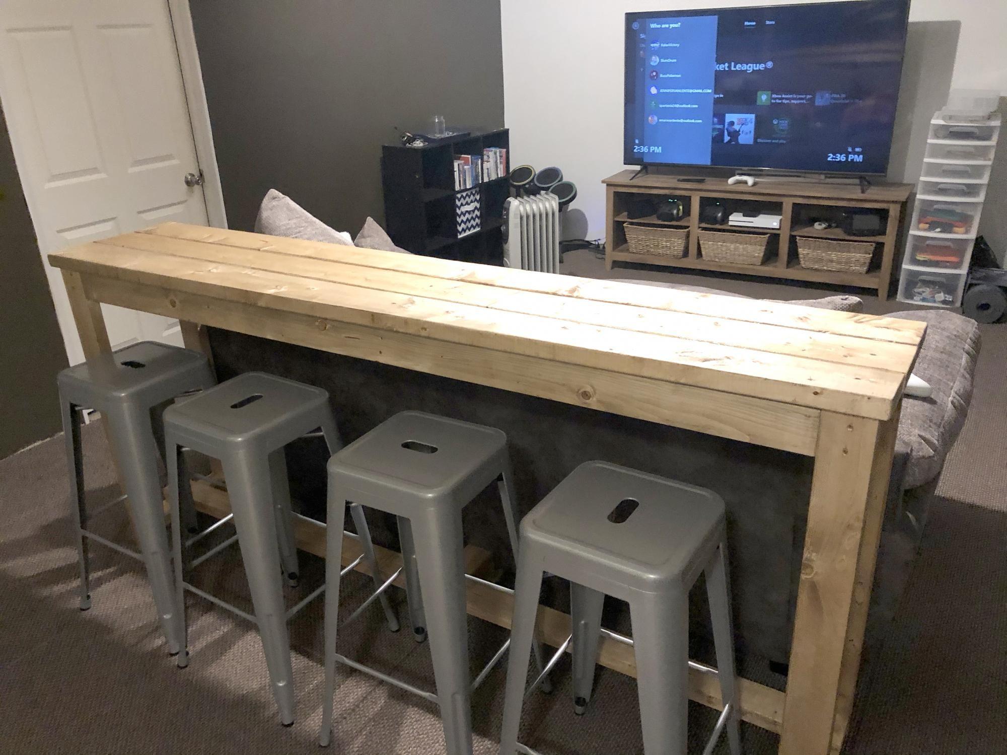Basement Sofa Table Bar Ana White In 2020 Sofa Table White Bar Table White Sofa Table