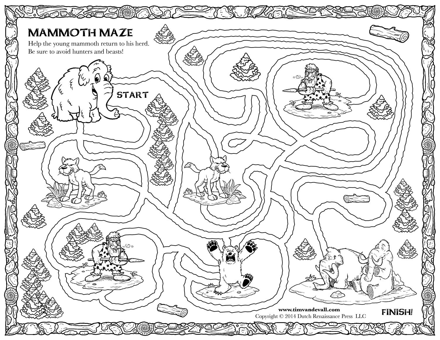 Woolly Mammoth Printable Maze Coloringpages