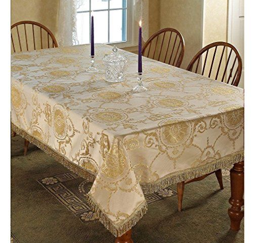1 Piece 52x70 Gold Oblong Geometric Tablecloth Rich Geometrical Gold Border Fringe Floral Damask Princess Design Pa Rectangle Table Damask Pattern Table Cloth