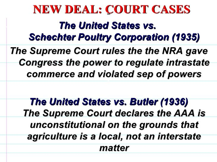 NEW DEAL: COURT CASES The United States vs  Schechter