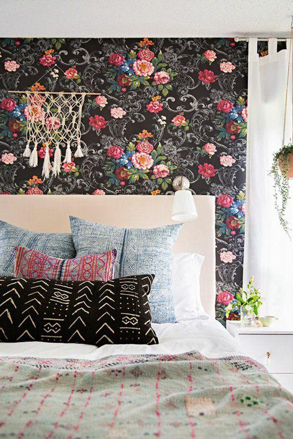 tapete schlafzimmer florale elemente rosen Wandgestaltung
