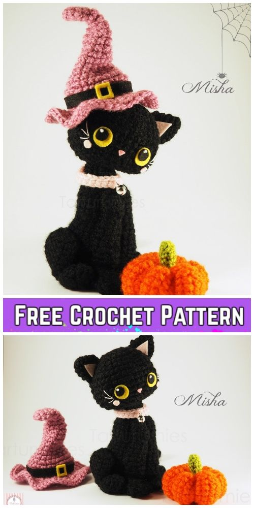 Crochet Halloween Cat Toy Softies Amigurumi Free Patterns #crochetanimalamigurumi