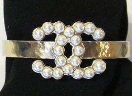 Authentic CHANEL 2015 Pearl Bracelet Crystal 2 Tone CC Gold Charm MINT