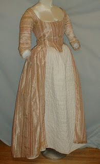 1775-1780 silk gown from Barrell estate, Livingston Manor, Sullivan County, NY
