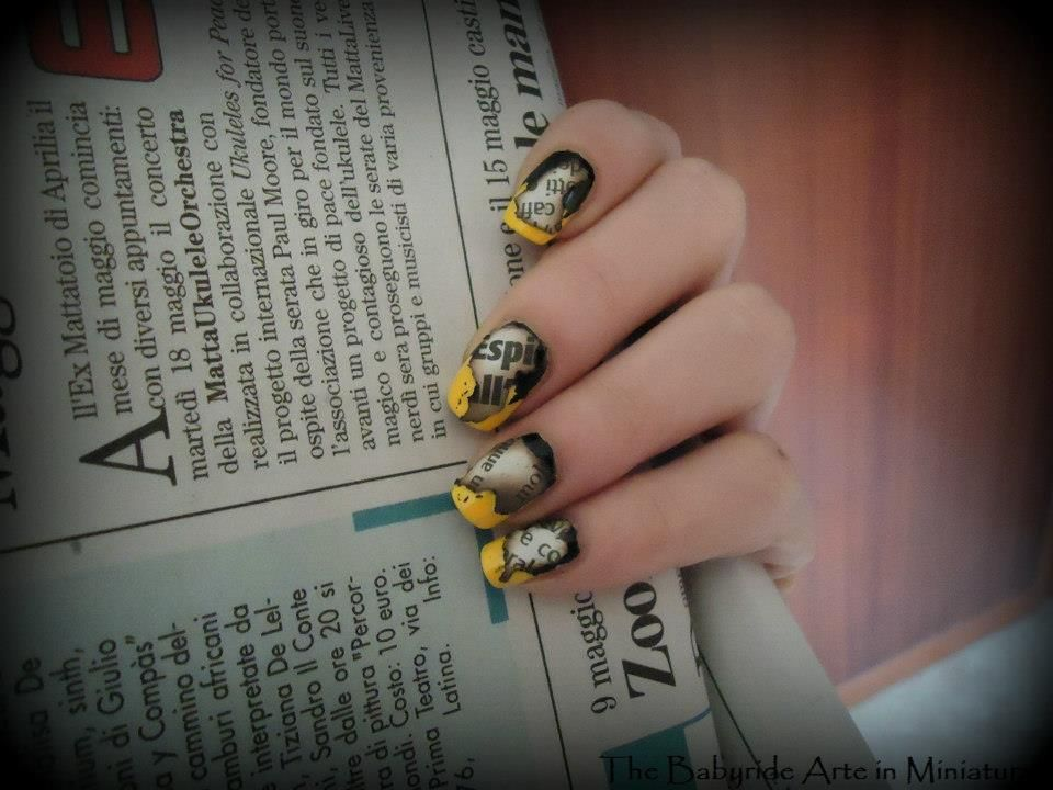 A twist on Newspaper nail art http://youtu.be/Qbsynwn1Mr4 | Nails to ...