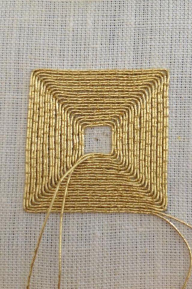 Goldwork Square   Zardosi Embroidery   Pinterest   Bordado, Puntadas ...