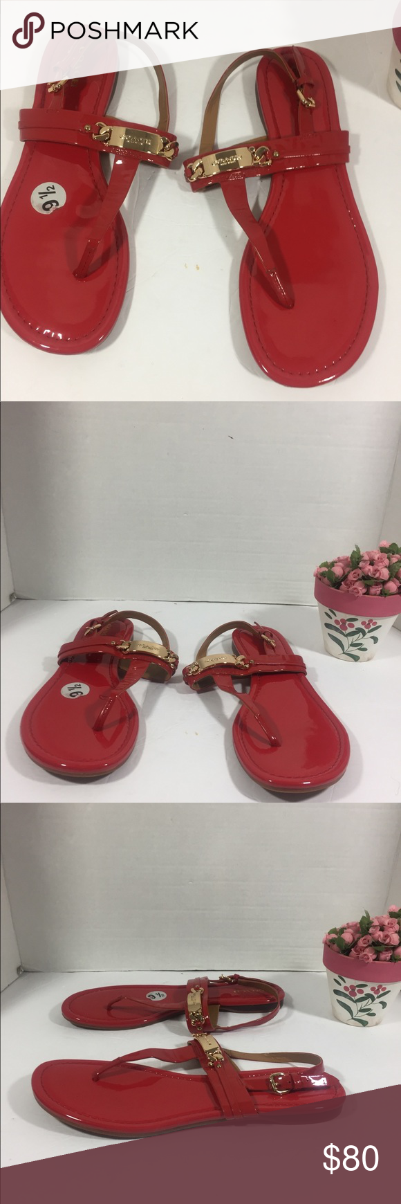 c5dc602e9 Coach Caterine Women s Red Sling Back Sandals Coach Catherine Women s Red  Sling back Patent Leather Sandals