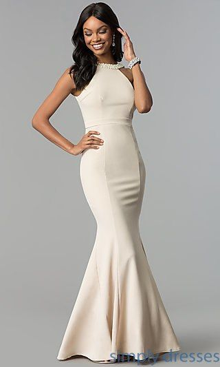 09b5617a8c830 Shop long prom dresses with pearl trim at Simply Dresses. High-neck formal  evening dresses under $100 with deep open backs and mermaid skirts.