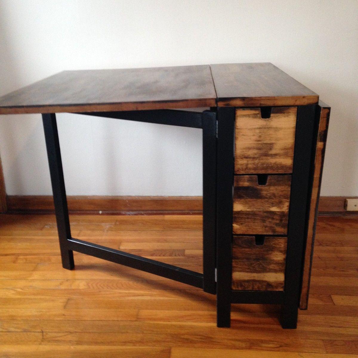 Gateleg Table Ikea Part - 11: IKEA Norden Gateleg Table with dark walnut stain | IKEA Hackers