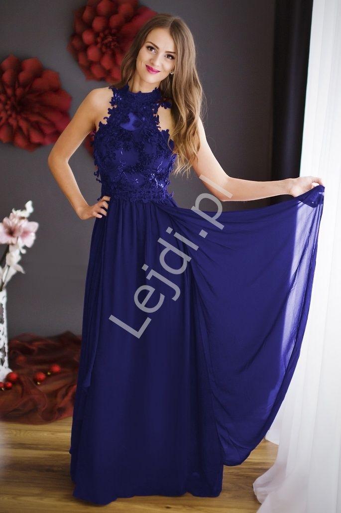 5cfbb460 Chabrowa długa suknia wieczorowa z kwiatami 3D   Chabrowe długie ...