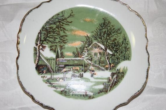The Farmers Home Winter Currier Ives Made In Korea Decorative Plate