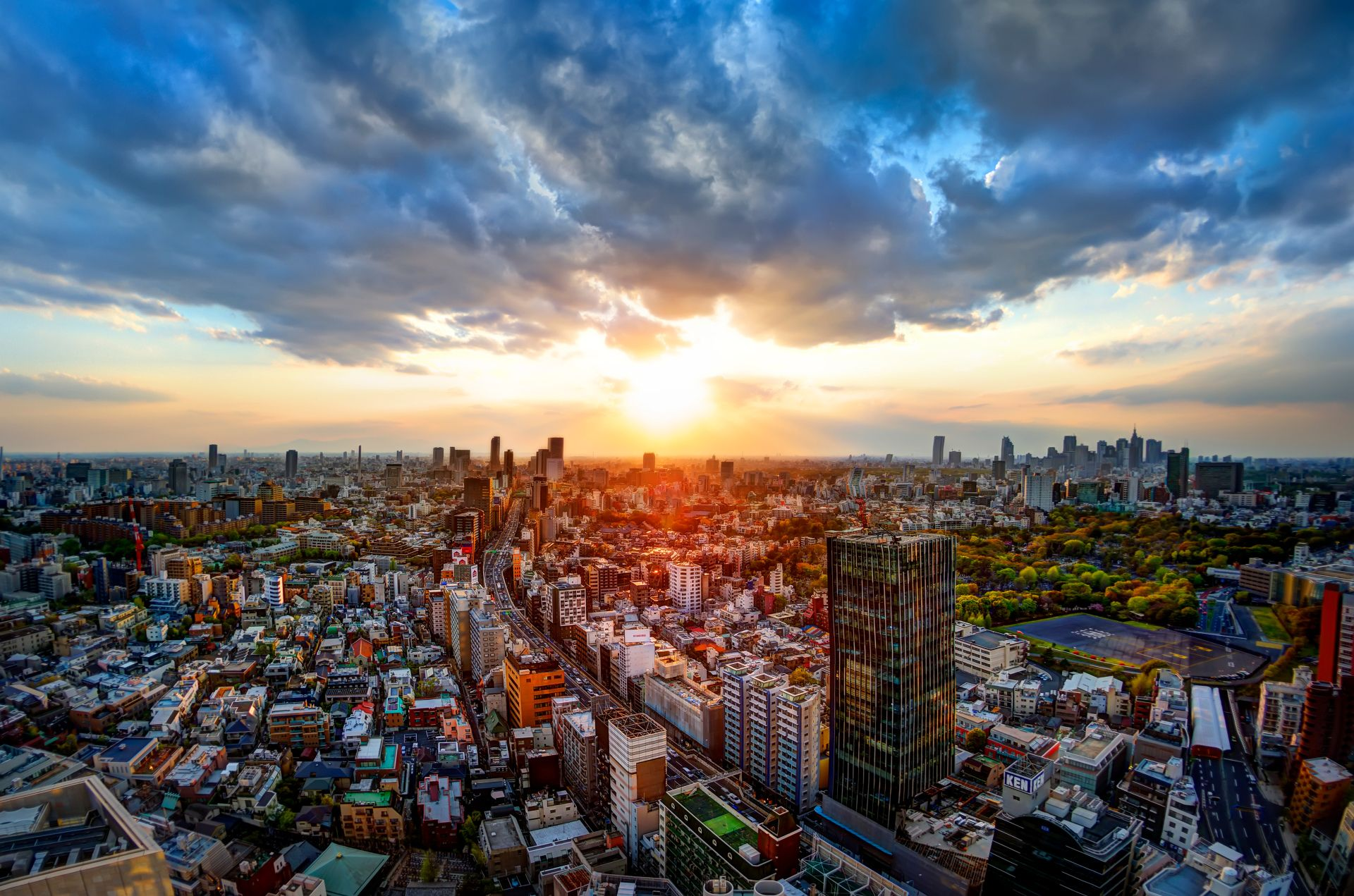Man Made Tokyo Panorama Skyscraper Sunset Japan Cloud Sky Wallpaper